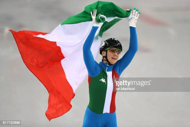Adrianna Fontana of Italy celebrates after winning the Short Track Speed Skating Women's 500m final on day four of the PyeongChang 2018 Winter...