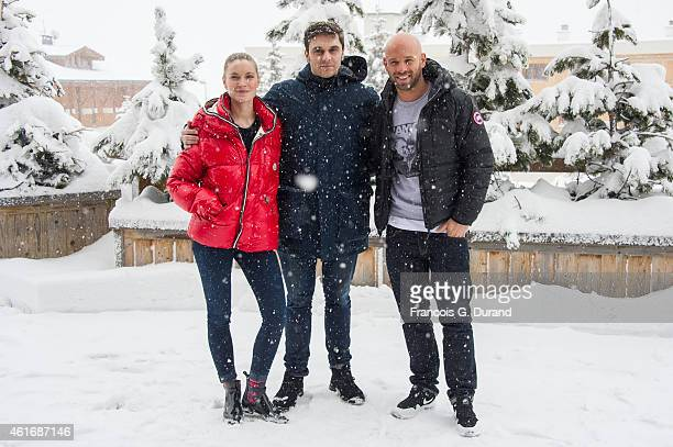 Adrianna Gradziel Pio Marmai and Franck Gastambide pose during the photocall for 'Toute premiere fois' during the 18th L'Alpe D'Huez International...