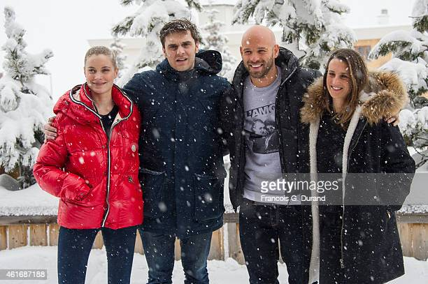 Adrianna Gradziel Pio Marmai Franck Gastambide and Camille Cottin pose during the photocall for 'Toute premiere fois' during the 18th L'Alpe D'Huez...