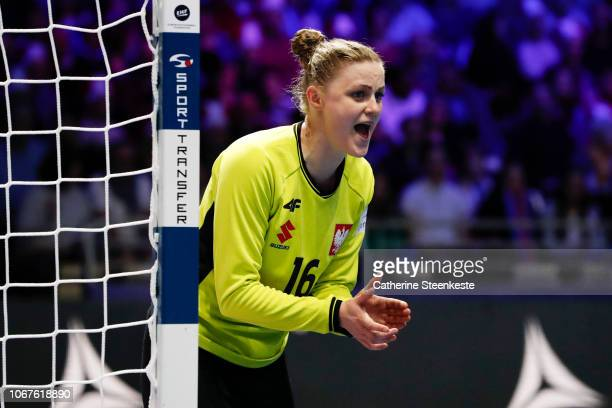 Adrianna Placzek of Poland cheers on her teammates during the EHF Women's Euro match between Poland and Denmark on December 2 2018 in Nantes France