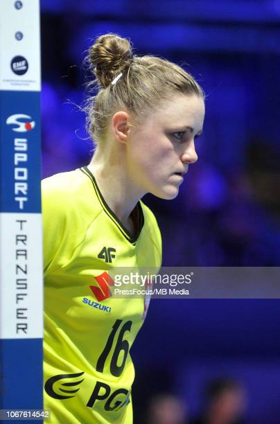 Adrianna Placzek of Poland looks on during the EHF Women's Euro match between Poland and Denmark on December 2 2018 in Nantes France
