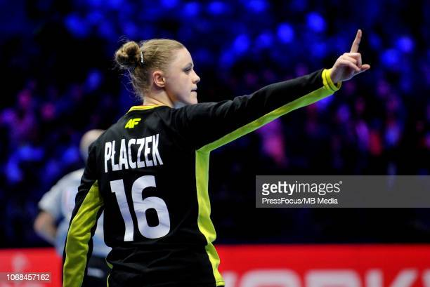 Adrianna Placzek of Poland reacts during the EHF Women's Euro match between Sweden and Poland on December 4 2018 in Nantes France