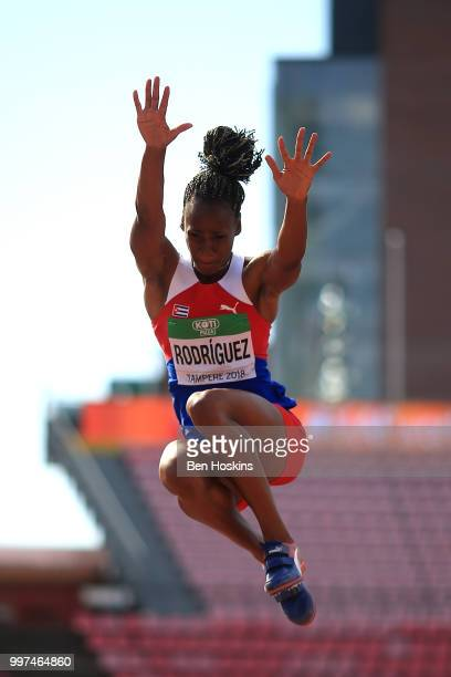 Adrianna Rodriguez of Cuba in action during the women's heptathlon long jump on day five of The IAAF World U20 Championships on July 13 2018 in...