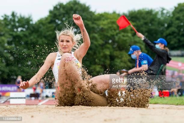 Adrianna Sulek of Poland competes during Women's Heptathlon Long Jump during 2021 European Athletics U23 Championships - Day 2 at at Kadriorg Stadium...