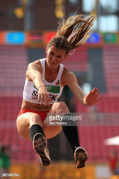Adrianna Sulek of Poland in action during the women's heptathlon long jump on day five of The IAAF World U20 Championships on July 13 2018 in Tampere...