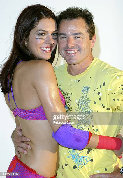 Adrianne Curry and Christopher Knight during Lingerie Bowl Celebrity Quarter Back Photo Shoot in Los Angeles California United States