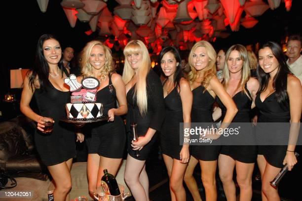 Adrianne Curry Blush Waitresses pose for photo at Blush Boutique Nightclub Inside Wynn Las Vegas on August 5 2011 in Las Vegas Nevada