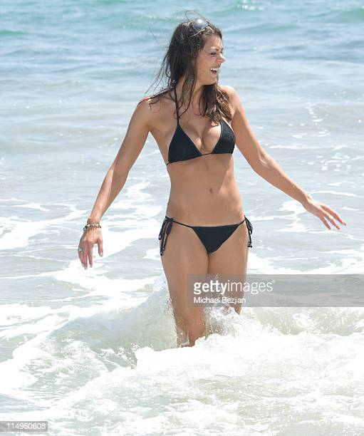 Adrianne Curry on the beach at Spin Magazine Hosts Vision Street Wear ReLaunch Party on August 2 2009 in Malibu California