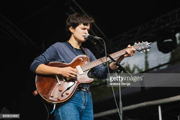 Adrianne Lenker of Big Thief performs on the Walled Garden stage during day 3 at Green Man Festival at Brecon Beacons on August 19 2017 in Brecon...