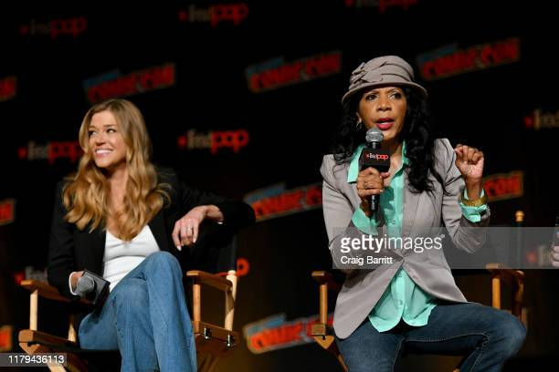 Adrianne Palicki and Penny Johnson Jerald speak on stage during Hulu's The Orville at New York Comic Con 2019 Day 4 at Jacob K Javits Convention...
