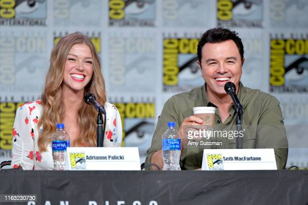 Adrianne Palicki and Seth MacFarlane speak at The Orville Panel during 2019 ComicCon International at San Diego Convention Center on July 20 2019 in...