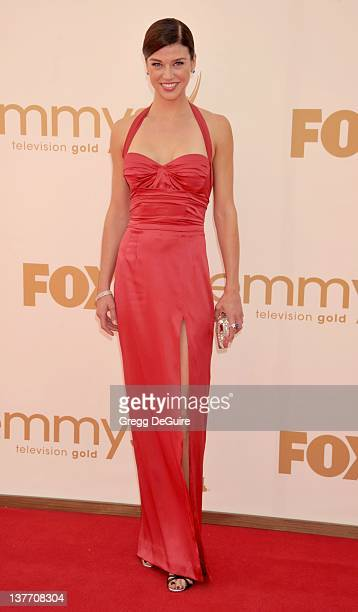Adrianne Palicki arrives at the Academy of Television Arts & Sciences 63rd Primetime Emmy Awards at Nokia Theatre L.A. Live on September 18, 2011 in...