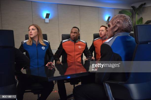Adrianne Palicki J Lee Scott Grimes and Peter Macon in the 'Firestorm' episode of THE ORVILLE airing Thursday Nov 16 on FOX