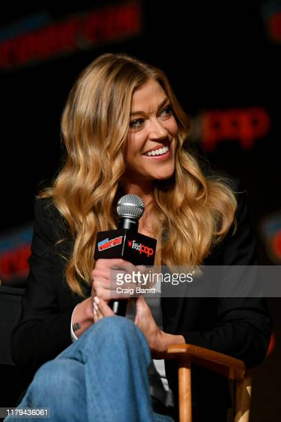 Adrianne Palicki speaks on stage during Hulu's The Orville at New York Comic Con 2019 Day 4 at Jacob K Javits Convention Center on October 06 2019 in...