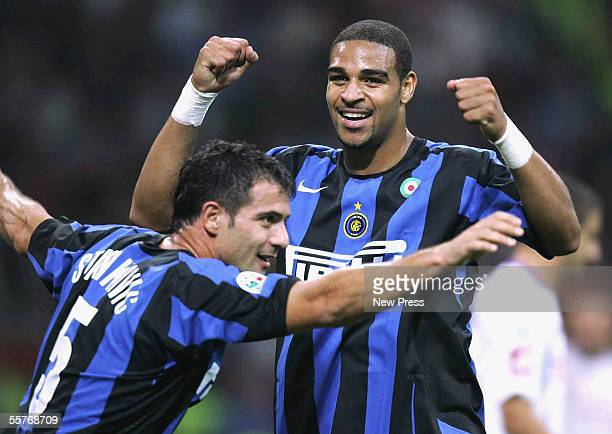 Adriano and Dejan Stankovic of Inter celebrate a goal during the Serie A match between Inter Milan and Fiorentina at the San Siro Stadium on...