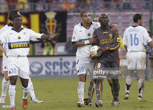 Adriano and Obafemi Martins of Inter Milan talks to Marco Andre Zoro of Messina during the Serie A match between Messina and Inter Milan at the...