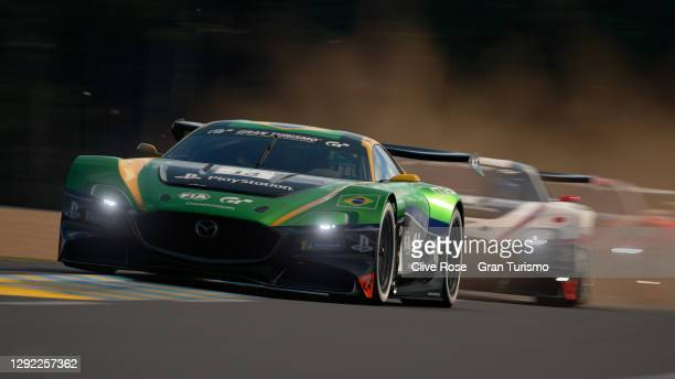 Adriano Carrazza of Brazil in action during the grand final of the FIA Gran Turismo World Tour 2020 Finals Nations Cup run at the virtual Le Mans...