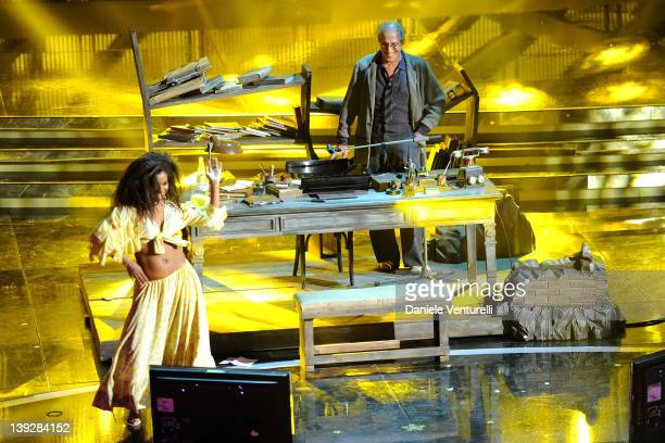 Adriano Celentano performs on stage at the closing night of the 62th Sanremo Song Festival at the Ariston Theatre on February 18, 2012 in Sanremo,...