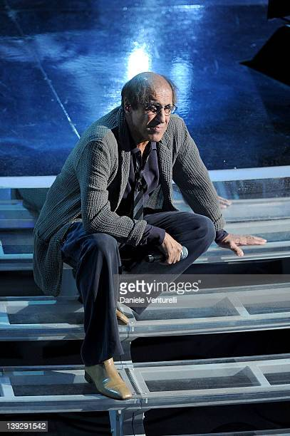 Adriano Celentano performs on stage at the closing night of the 62th Sanremo Song Festival at the Ariston Theatre on February 18 2012 in Sanremo Italy