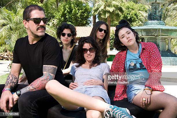 Adriano Cintra Luiza SA Ana Rezende Carolina Parra and Lovefoxxx of CSS performs on stage during the third day of Coachella Valley Music Festival on...