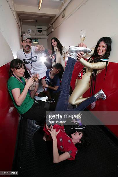 Adriano Cintra Luiza Sa Iracema Trevisana Lovefoxxx Ana Rezende and Carolina Parra of CSS pose for a group portrait backstage at Brixton Academy on...