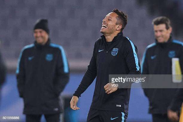 Adriano Correia Claro of Barcelona attends a team training session for the FIFA Club World Cup Japan 2015 football tournament on December 16 2015 in...