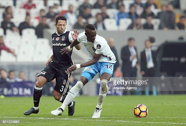 Adriano Correia Claro of Besiktas in action against Dame Ndoye of Trabzonspor during the Turkish Spor Toto Super Lig football match between Besiktas...