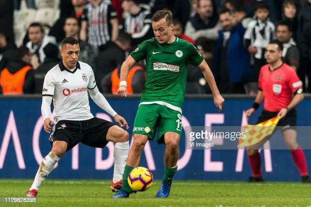 Adriano Correia Claro of Besiktas JK Deni Milosevic of Atiker Konyaspor during the Turkish Spor Toto Super Lig football match between Besiktas JK and...