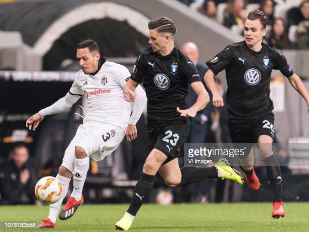 Adriano Correia Claro of Besiktas JK Marcus Antonsson of Malmo FF Andreas Vindheim of Malmo FF during the UEFA Europa League group I match between...