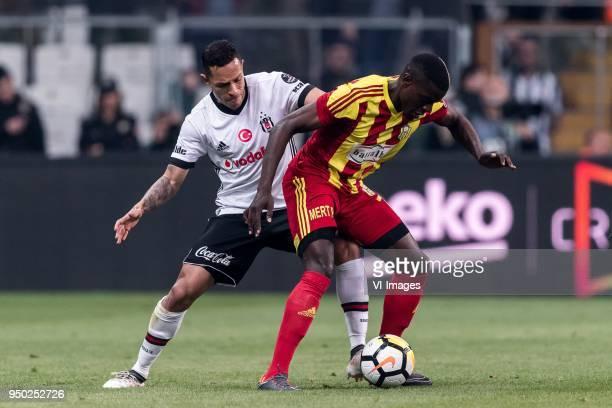 Adriano Correia Claro of Besiktas JK Michael Pereira of Evkur Yeni Malatyaspor during the Turkish Spor Toto Super Lig football match between Besiktas...