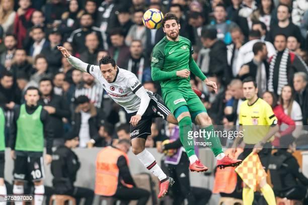 Adriano Correia Claro of Besiktas JK Onur Ayik of Teleset Mobilya Akhisarspor during the Turkish Spor Toto Super Lig football match between Besiktas...