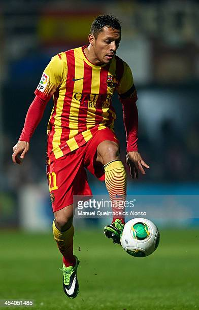 Adriano Correia of Barcelona controls the ball during the Copa del Rey Round of 32 match between FC Cartagena and FC Barcelona at Estadio Cartagonova...