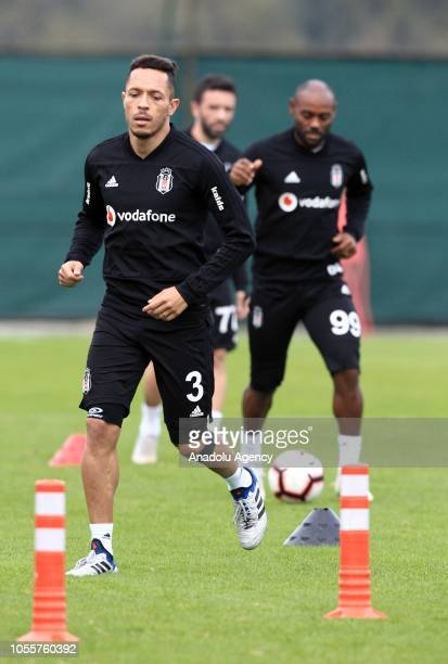 Adriano Correia of Besiktas attends a training session ahead of Turkish Super Lig match against Medipol Basaksehir in Istanbul Turkey on October 31...