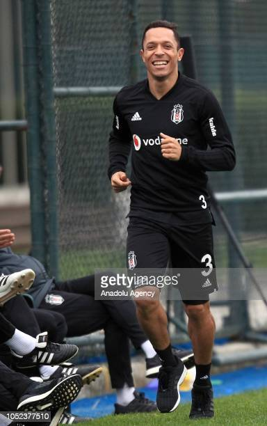 Adriano Correia of Besiktas attends a training session ahead of the Turkish Super Lig football match against Goztepe at Nevzat Demir Facilities in...