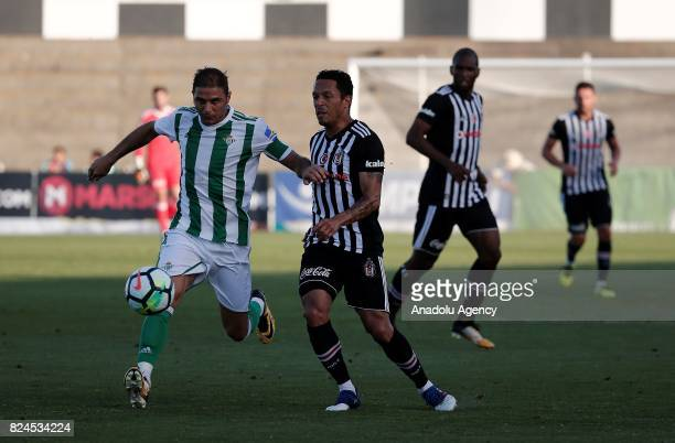 Adriano Correia of Besiktas in action against Joaquin of Real Betis during a friendly match between Besiktas and Real Betis as part of the new season...