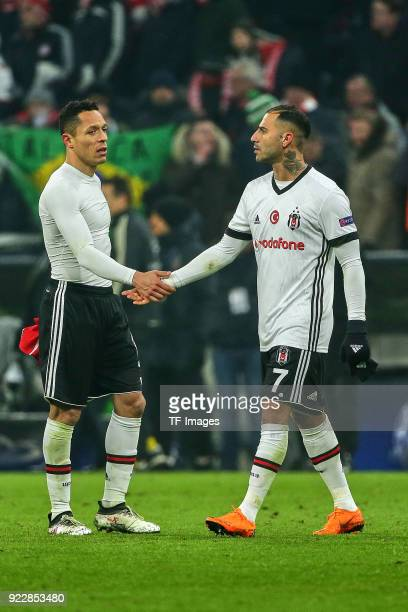 Adriano Correia of Besiktas Istanbul and Ricardo Quaresma of Besiktas Istanbul looks dejected during the UEFA Champions League Round of 16 First Leg...
