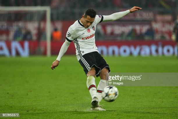 Adriano Correia of Besiktas Istanbul controls the ball during the UEFA Champions League Round of 16 First Leg match between Bayern Muenchen and...