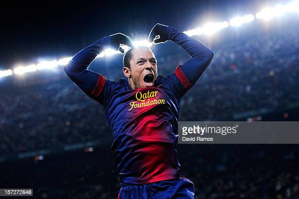 Adriano Correia of FC Barcelona celebrates after scoring his team's third goal during the La Liga match between FC Barcelona and Athletic Club at...