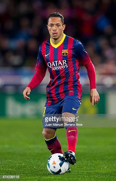 Adriano Correia of FC Barcelona controls the ball during the La Liga match between Real Sociedad and Barcelona at Estadio Anoeta on February 22 2014...