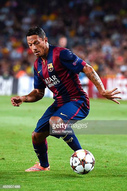 Adriano Correia of FC Barcelona during the UEFA Champions League Group F match between FC Barcelona and APOEL FC at the Camp Nou Stadium on September...