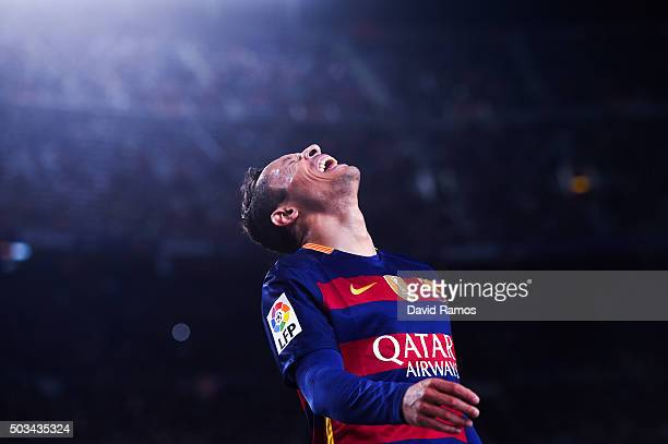 Adriano Correia of FC Barcelona reacts during the La Liga match between FC Barcelona and Real Betis Balompie at Camp Nou on December 30 2015 in...