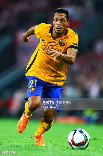 Adriano Correia of FC Barcelona runs with the ball during the Spanish Super Cup first leg match between FC Barcelona and Athletic Club at San Mames...