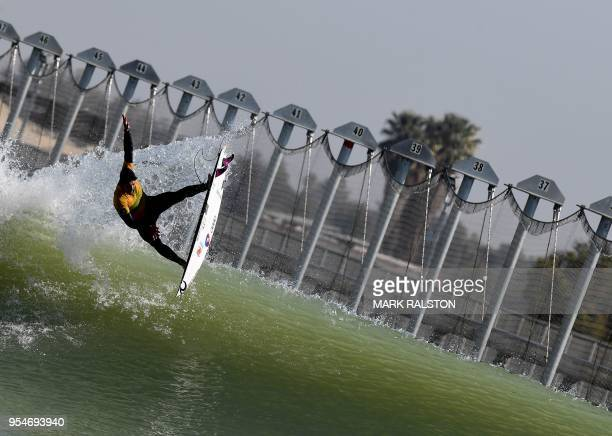 Adriano de Souza of Brazil gets air during team practice before the WSL Founders' Cup of Surfing at the Kelly Slater Surf Ranch in Lemoore California...