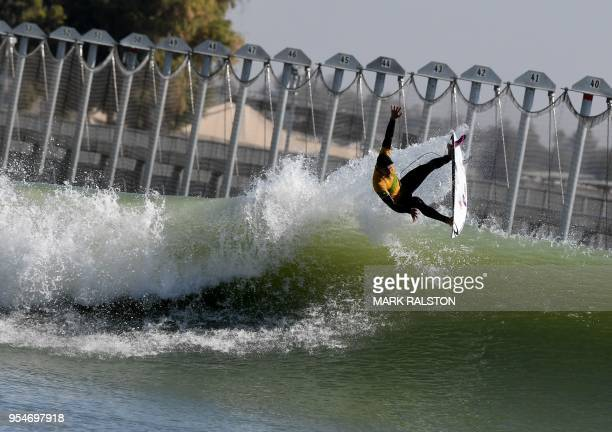 TOPSHOT Adriano de Souza of Brazil gets air during team practice before the WSL Founders' Cup of Surfing at the Kelly Slater Surf Ranch in Lemoore...