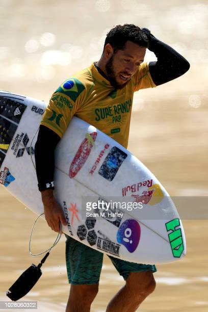 Adriano de Souza of Brazil looks on during the men's qualifying round of the World Surf League Surf Ranch Pro on September 6 2018 in Lemoore...