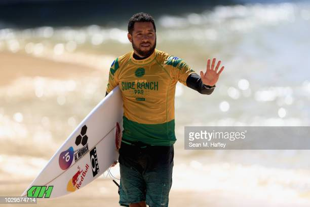 Adriano de Souza of Brazil looks on during the men's qualifying round of the World Surf League Surf Ranch Pro on September 8 2018 in Lemoore...