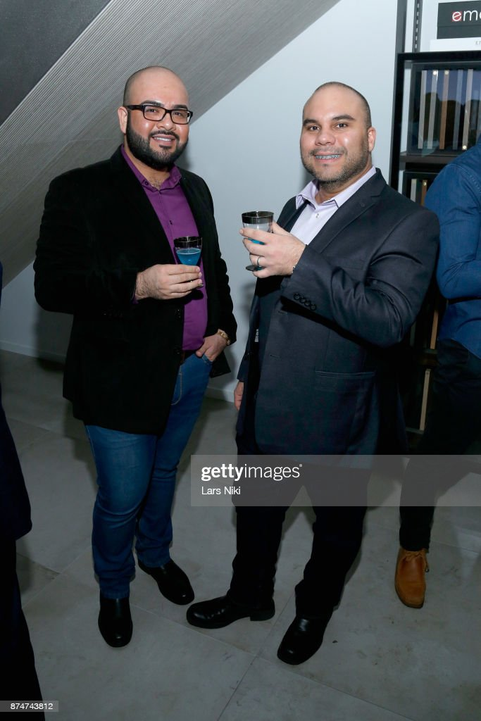 Adriano Encina and Emmanuel Bobadilla attend the Blu Perfer & Blue Brut Launch Party for The 2018 8th annual Better World Awards on November 15, 2017 in New York City.