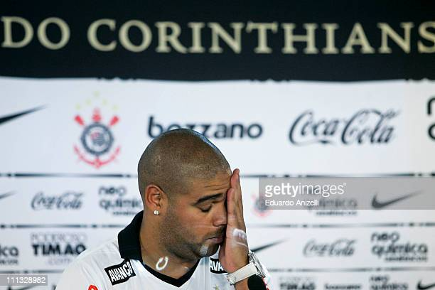 Adriano from Brazil speaks for the press during his persentation as new player of Corinthians on March 31 2011 in Sao Paulo Brazil Adriano has...