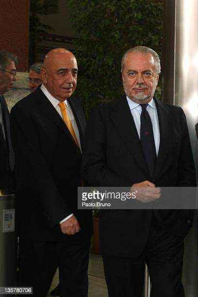 Adriano Galliani President of AC Milan and Aurelio De Laurentis President of SSC Napoli react after a Tavolo Della Pace Meeting on December 14 2011...