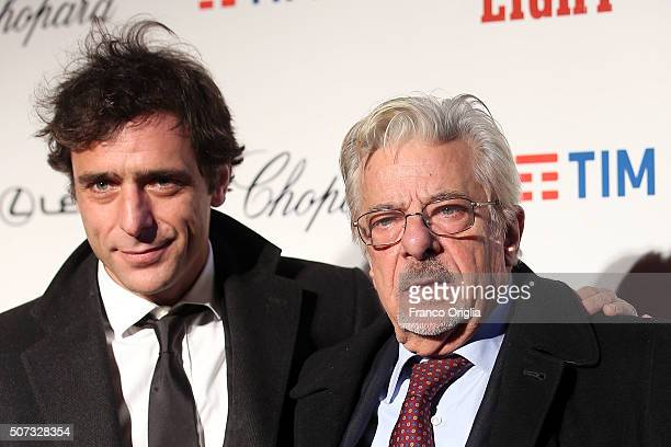 Adriano Giannini and Giancarlo Giannini walk the red carpet for 'The Hateful Eight' premiere at on January 28 2016 in Rome Italy